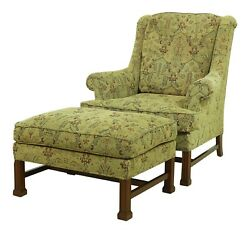 52243ec Hickory Chair Co Chippendale Mahogany Chair And Ottoman