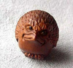 Chirp Carved And Signed Boxwood Baby Bird Ojime/netsuke Bead   27x20x19mm   Brown