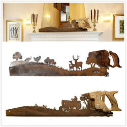 Crosscut Saw Shape Wall Hanging Art Rusitic Metal Ornament Home Decoration Gift