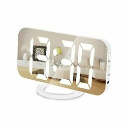 Digital Clocks 7quot; LED Display Electric Alarm Clock with Dual USB Charger White