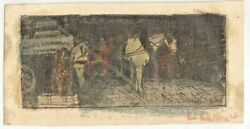 Original Etching Leon Louis Dolice Color Print Of Horse And Cart
