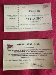 Rms Titanic Replica Tickets, Belfast Launch 1911 And 1st Class Maiden Voyage 1912