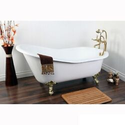 Vintage Slipper 61-inch Cast-iron Clawfoot Tub With 7-inch White