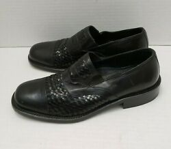 Mens Mercanti Fiorentini Leather Black Loafers Dress Shoes Weave Italy 42.5