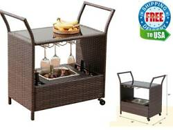 Outdoor Wicker Bar Cart With Wheels And Ice Bucket, Rolling Patio Wine Cart