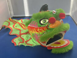 Chinese New Year Dragon Head Paper Mache Hand Painted Puppet Mask Sequins