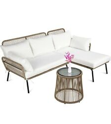 Wicker Sectional Lounger With Side Table Patio Set