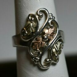 Black Hills Gold Sterling Silver And 12k Gold Ring Size 7 C And Co Grapes And Leaves