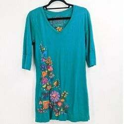 Jw Los Angeles Johnny Was Medium Embroidered Floral Jersey Knit Tunic/dress