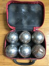 Vintage Obut 6 Stainless Steel Lawn Bowling Balls Zippered Case