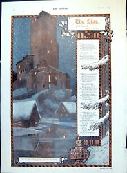 Old Print Fortified Tower Village Night Stars Flight Enchanted Horse 1909 20th