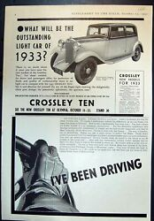 Old Print Crossley Ten Outstanding Light Car 1933 Car Mascots Plugs 1932 20th