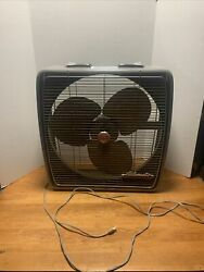 Vintage Metal Box Fan G E Automatic 3 Speed Auto Thermostat Industrial