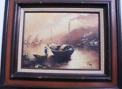 Shu Tao Young S T Young Artworkandnbsp - Asian Junk Boats Fishing Oil Painting