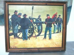 Original Ted Peters Oil Painting Of Civil War Yankee Soldiers And Cannon