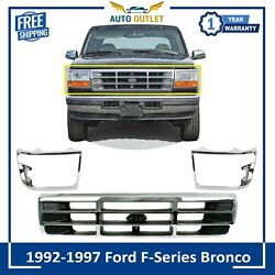 Front Chrome Grille And Head Light Door Set For 1992-1997 Ford F-series / Bronco