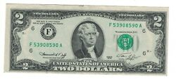 1976 2 Two Dollars Bill Error Misalignment Federal Reserve Seal And Serial