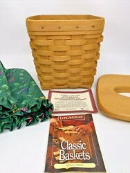 1998 Longaberger Tall Classic Tissue Basket With Lid And Emerald Vine Liner