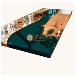 Olive Epoxy Table, Acacia Resin Table Epoxy Dining Table, Green Resin Decorative