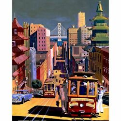 City Trams Landscape Oil Painting By Number Kit Diy Acrylic Modern Home Decors