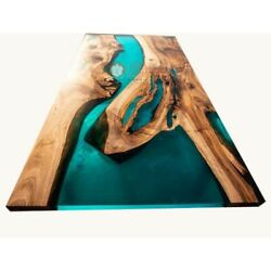 Green Resin River Epoxy Resin Solid Wood Walnut Epoxy Dining Table Top Home Deco
