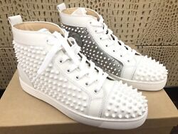 New Christian Louboutin Yang Louis Spikes White Silver Leather Sneakers Eur 415
