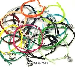 Variety Of Symbol Themed Charm Waxed Cotton Friendship Wish Anklet Bracelets
