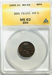 1955 Double Die Lincoln Cent 55/55 - Rare Anacs Ms62 - Beautiful Coin