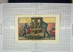 Original Old Antique Print 1894 Colour Men Playing Cards Board Game Victorian