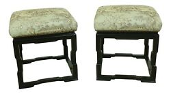 L52345ec Pair Asian Design Black Painted Newly Upholstered Stools
