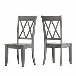 Eleanor Black Round Solid Wood Top 5-piece Dining Set - X Antique Grey Chairs 5-