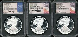 3 2021 Proof 1 American Silver Eagles Ngc Pf 70 Signed By Mint Officials