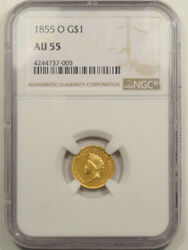 1855-o Type 2 1 Gold Dollar - Ngc Au-55 Scarce Coin New Orleans