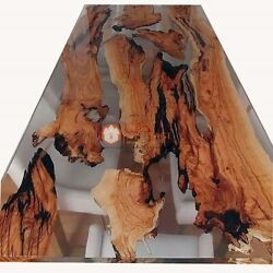 Natural Wood Table Epoxy Resin Acacia Wooden Table Hallway And Restaurant Decor
