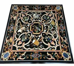 Square Marble Black Top Dining Table Mosaic Pietra Dura Inlay Art Home Deco B907
