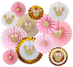 12 Pcs Pink Gold Glitter Minnie Mouse Tissue Paper Fans Minnie Birthday Party De