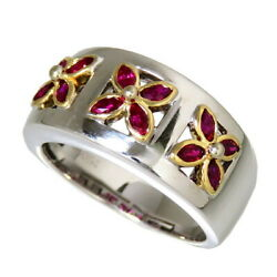 Us 5.5 Flower / Flower Combination Color Ruby 0.64ct In Total Ring K18wg Whi...