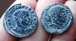 Lot 2 Coins Of Ancient Roman Emperors Rome Constantine And Licinius. Follis. Vf++