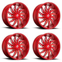Set 4 22 Fuel D745 Saber 22x12 Candy Red Milled 8x180 Truck Wheels -44mm Rims