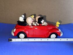 """Rare Willitts Peanuts Vw Beetle Car Music Box """"king Of The Road"""" Ceramic Exc."""