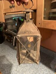 Rare Antique Early 1800s Four Panes Lantern With Candle Holder Intact. Gorgeous