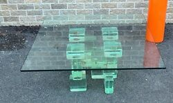 Vintage Contemporary Green Glass Block Brick Base Coffee Table 36 X 36 X 16
