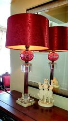 Fine Vintage Mcm Cranberry Red Ruby Etched Crystal Marble Lamp With Fabric Shade