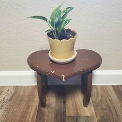 Vintage Wooden Heart Shaped Foot Step Time Out Stool Plant Stand Brown 12 X 7