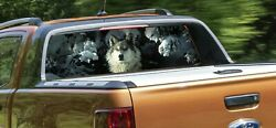 Rear Window Perforated Car Decals Graphics Stained Glass Window Wolf
