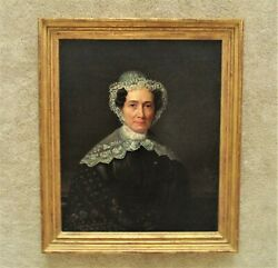 19th C. Portrait Oil Painting Woman Lady Antique Victorian In Gilt Wood And Gesso