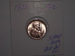 Wheat Penny 1933 High Grade Lincoln Cent Gem Red Bu 1933-p, Lot 2 Gem Red Unc