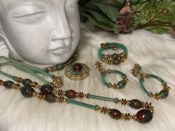 Huge Miriam Haskell Parure Green Art Glass Stone Four Piece Signed Set A10