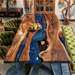 Blue Epoxy Walnut Resin River Table Centerside Dining Top Decor Made To Order