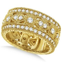 1.37ct Vintage Byzantine Wide Band Diamond Ring 14k Yellow Gold Antique G-h Si1